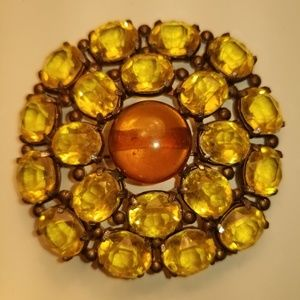 Vintage Yellow Glass 1940 Style Brooch